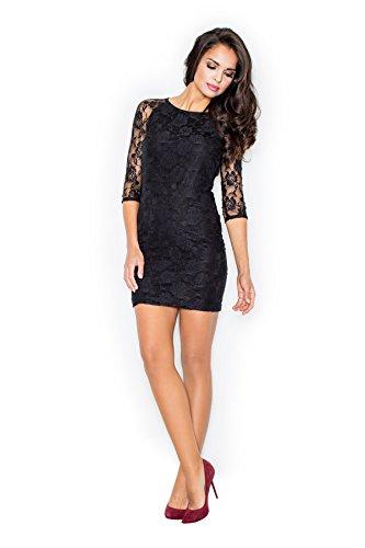 Elégante robe de soirée manches en dentelle Figl Noir