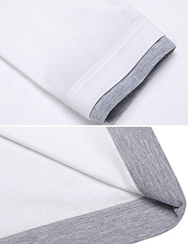 ZEARO Herren dünne Mode Doppelkragen und runde Ansatz Hülsen Langarm-T-Shirt Weiß