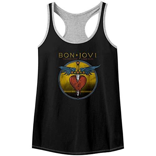 Bon Jovi Rock Band - Camiseta sin Mangas para Mujer, Color Negro y Gris XL