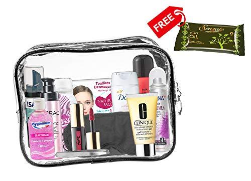A2S 13 teiliges Komfort-Reiseset für Damen, Reise Wesentliches, Urlaubs- und Geschäftsreisen, bestehend notwendigen Körperpflegeprodukten in einem PVC-Kosmetikkoffer. Kabine genehmigt. (Frau Neu) -