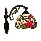 Tiffany Flower Bird Wandleuchte/Handwerk / Alloy Base Farbe Muster/Glas Dekorative Wandleuchte / 8 Zoll Lampe E27, Korridor Indoor Wohnzimmer Veranda