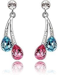Lily Jewelry Pendientes de cristal de Swarovski para mujer, con forma de gota, diseño elegante y clásico