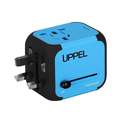UPPEL Reiseadapter, Universal Stromadapter Steckdosenadapter, Reisestecker mit Doppel USB-Ports für Europa UK AUS USA CN Universal fusionierten Sicherheit AC-in Einem Ladegerät (Blau)