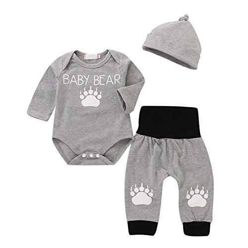 BOBORA Ensemble Bébé Garçon Hiver, 3PCs Cute Bear Footprints Barboteuses à Manches Longues + Pantalon en Coton + Chapeau