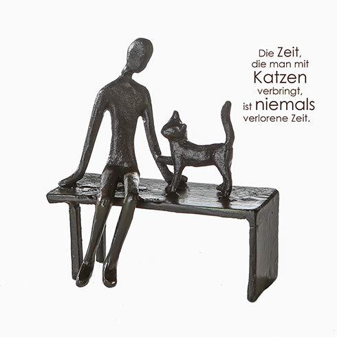 Home-design-glas-skulptur (Casablanca - Design Skulptur Zuwendung Eisen brüniert Frau mit Katze auf der Bank)