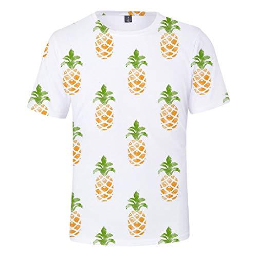 ODRD Hot Jugend Herren T-Shirt Frühling Sommer Mode Obst Ananas Unisex 3D-Druck kreative Rundhals Casual kurzes Hemdoberteil Lässiges...