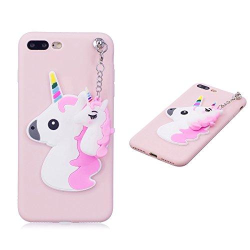 Galleria fotografica Superior Creative Cover iPhone 7 Plus, Cover iPhone 8 Plus, Cute 3D Cartoon Unicorn Morbido TPU Slim anti Scivolo Custodia Protezione Posteriore - Rosa