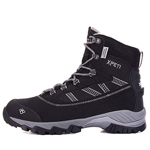 XPETI Stivali da Escursionismo, Oslo Trail Impermeabili Mid Alpinismo Scarpe Trekking Neve Uomo Estive Hiking Calzature Tecnica Montagna Basse Backpacking Walking Outdoor Nero 42