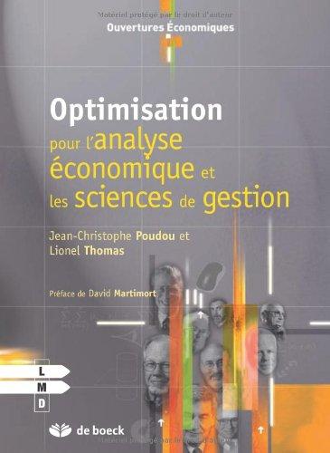 Optimisation pour l'analyse économique et les sciences de gestion par Jean-Christophe Poudou