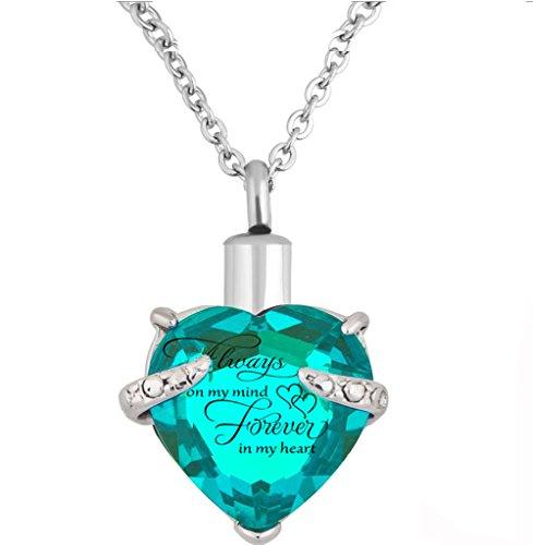 Herz Einäscherung Urn Halskette für Asche Urn Schmuck Memorial Anhänger mit Fill-Kit und Geschenk-Kasten (Himmelblau)
