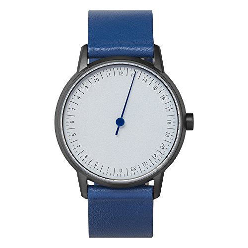 slow round 05 - Blue Leather, Anthracite Case, Light Blue Dial