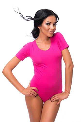 Evoni Damenbody in Pink | Größe XL | Damen Overall Bodysuit mit Rundhals | kurze Ärmel | Ballett Trikot für Frauen | Verschluß-Haken | Unterzieh-Body mit optimaler Passform | sportlicher Tanz-Body (Damen-tanz-trikot Pink)