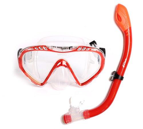 Kinder Maske mit Schnorchel Junior Diving Set DRY, Silikon, 2-teilig rot rot