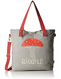 Adelheid - Glückspilz Einkaufstasche, Bolso Mujer, Gris (Mausgrau), 10x39x44 cm (B x H T)