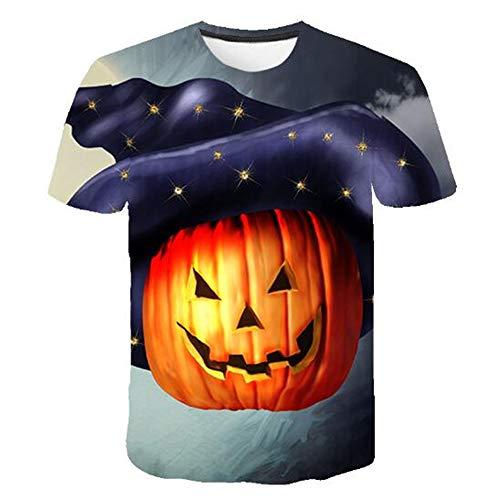 rt 2019 Sommer Casual Kurzarm 3D Digital Gedruckt T Shirt Tops Premium,3D gedruckt Halloween gelb L ()