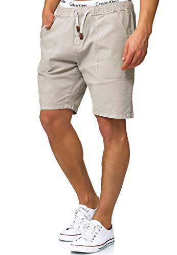 Indicode Herren Stoufville Chino Shorts Bermuda Kurze Hose mit Kordeln aus Stretch-Material gewaschen Regular Fit Willow Gray L - Adidas-stretch-shorts