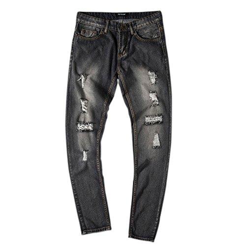 inter Slim Fit Straight Denim Vintage Style Schrubben Sie zerrissene weiße Jeans mit gebrochenen Löchern 52 Schwarz ()