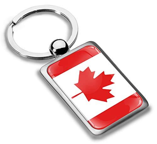 Skino Schlüsselanhänger Metall Keyring Autoschlüssel Geschenk Metall-Schlüsselanhänger Schlüsselbund Edelstahl Kanada Kanadisch Flagge Canada, KK 226