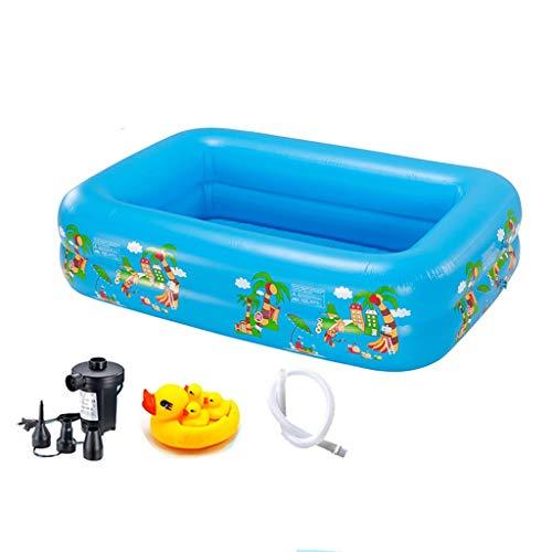 CQyg Rechteckiger Aufblasbarer Pool, PVC-Planschbecken, 2 Ringe Warmes Blasenunterteil Mit Pumpe Baby Kind Ozean Ball Pool Aquarium Pool 180 * 145 * 50cm