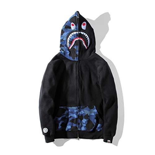 Bape Jacket Men|Bape Camouflage Shark Color Matching Plus Velvet Hooded Men Women Lovers Sweater Coat Autumn Winter