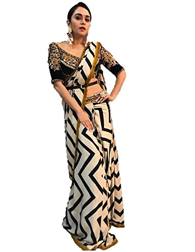 Vardani saree Black and White colour georgatte saree with Blouse in work