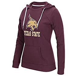 NCAA Texas State Bobcats Womens Large Back Vertical Fleece Crewdie Top, Medium, Maroon