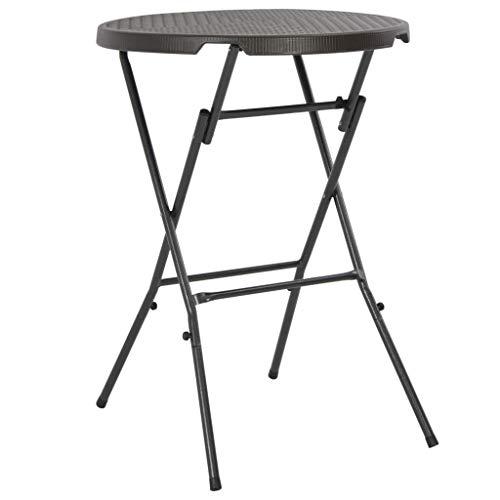 vidaXL Table de Bar Pliante HDPE Marron Aspect de Rotin Jardin Table Haute
