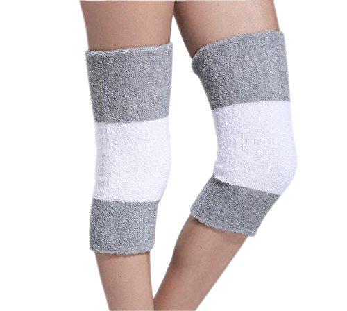 Winter Warm Thermo-Kniebandage Knieschützer Sport Outdoor Leg Warmers dicker Ärmel Kniebandage Knieschoner Wrap, grey&white (Acryl-leg Warmers)