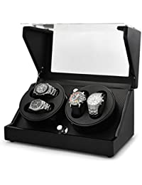 Klarstein CA2PM caja para relojes (capacidad para 4 relojes, 4 programas de rotación, funcionamiento silencioso, incluye un paño de limpieza) - negro