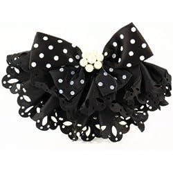 Anstecknadel mit Perlen, schwarz - Schmucknadel Schmuck Modeschmuck Nadel Brosche Damen Schleife Perlenschmuck