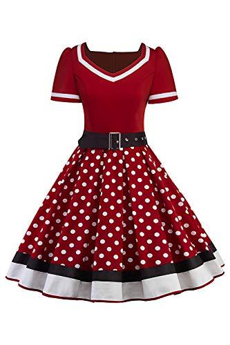 MisShow Damen elegant 50er Jahre Petticoat Kleider Gepunkte Rockabilly Kleider Cocktailkleider, Weinrot, L