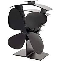 Valiant (FIR361) Premium IV 4-Blade Heat Powered Log Burner & Stove Fan, Black