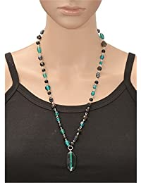 Zephyrr Attractive Translucent Green And Black Glass Beaded Pendant Necklace, With Silver Metal Chain, From Zephyrr...
