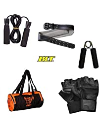 BLT 5-in-1 Fitness Combo Of Gym Duffel Bag,Gym Gloves,Gym Leather Belt,Skipping Rope & Hand Grip Gym & Fitness...