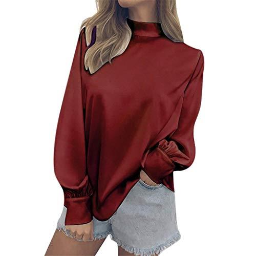(Damen Tshirt,Geili Damen Mode Chiffon Solide T-Shirt Büro Rollkragen Laterne Ärmel Bluse Top Frauen Lose Langarm Pullover Blusen Oberteile Tops Basictop)