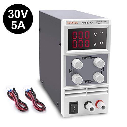 Labornetzgerät, Eventek 0-30V 0-5A DC Regelbar Netzgerät Stabilisiert Digitalanzeige Labornetzteil Netzteil Strommessgeräte