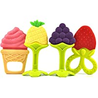 Baby Silicone Teething Toys,Soft Sensory BPA Free Natural Silicone Teethers Toy Molar Teeth Soother Safe Teether Massage Set for Babies, Infant, Toddlers (4 Pack)