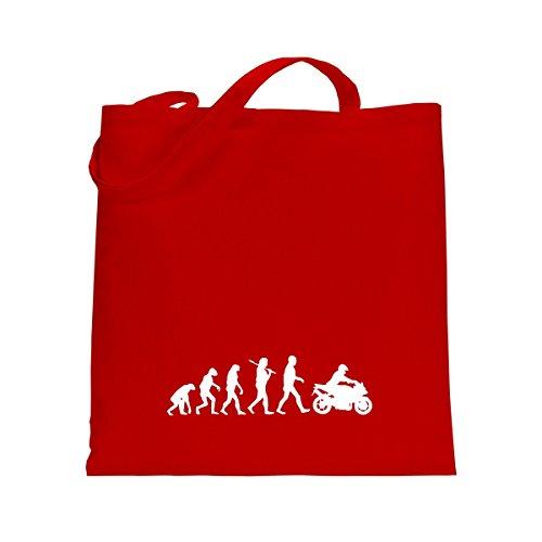 Shirtfun24 Baumwolltasche EVOLUTION BIKER Motorradfahrer, schwarz rot