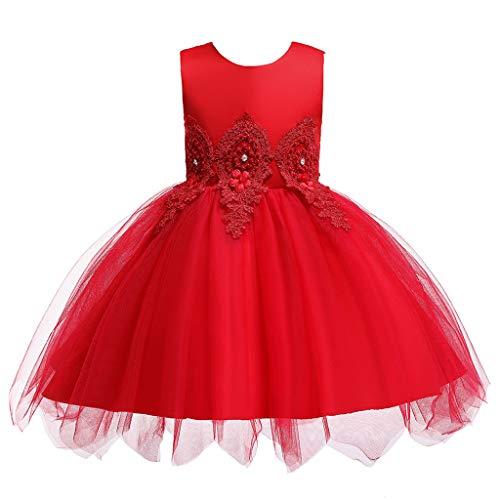 Koojawind ÄRmelloses, Besticktes Kleid Mit Netzschleife, Abendkleid, Tutu-Kleid, Sommerhochzeit, Geburtstag, Prinzessin, Kleinkind-Kleid