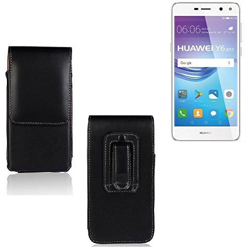 K-S-Trade Für Huawei Y6 2017 Dual SIM Gürtel Tasche Gürteltasche Schutzhülle Handy Tasche Schutz Hülle Handytasche Smartphone Case Seitentasche Vertikaltasche Etui Belt Bag schwarz für Huawei