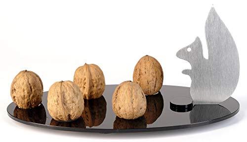 Design Projekte Nussknacker-Set: Eichhörnchen-Walnuss-Nussknacker-Edelstahl mit schwarzer...