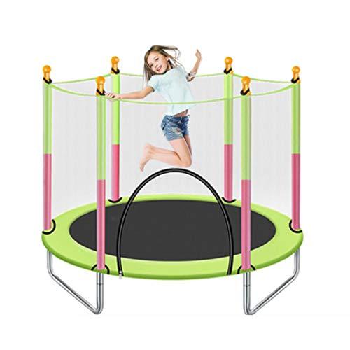 YGUOZ Kinder Trampolin, Startseite Garten Indoor Outdoor Trampolin mit Sicherheitsnetz Sprungmatte Hochfeste Federn, Trampolin Set,Green_55in