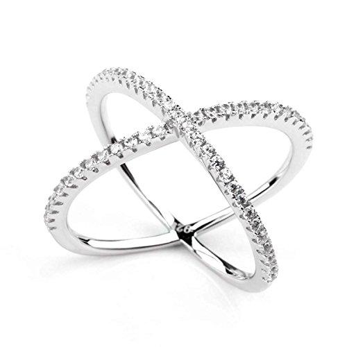 925 Sterling Silber X-Ringe Cubic Zirconia Criss Cross Verlobungsringe Trauringe