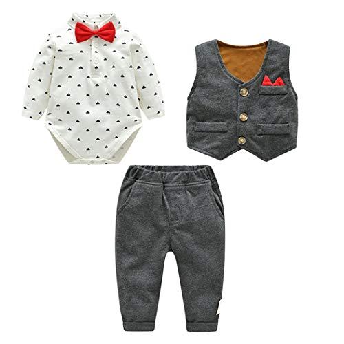 Fairy Baby Baby Jungen 3pcs Anzug Kleinkinder Gentleman Bodysuit + Weste + Hose Size 66(3-6 Monate) (Dunkelgrau)
