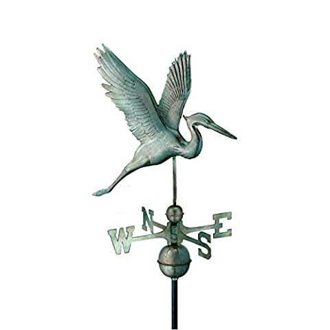 Good Directions Graceful Blue Heron Weathervane, Blue Verde Copper