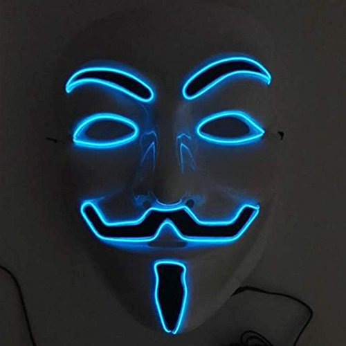 lzn LED Beleuchtung Maske LED Luminous Blinkende Gesichtsmaske Anonym Halloween Cosplay Kost¨¹m Masken liefert