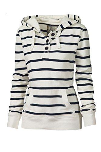 Le Donne Casuale Semplice Manica Lunga Felpe Cravatta Strisce T - Shirt Camicetta Con Tasca White