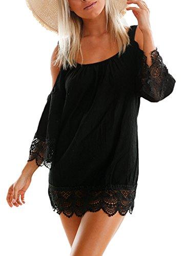 Aleumdr Damen Strandkleid Lacy Crochet Trim Crinkle Kalt Schulter Beachwear Bikini Cover up Minikleid Strandponcho Schwarz Small