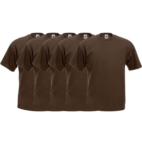 Fruit of the Loom Original Valueweight T Rundhals T-Shirt F140 5er 10er 15er 20er Pack 5x chocolate
