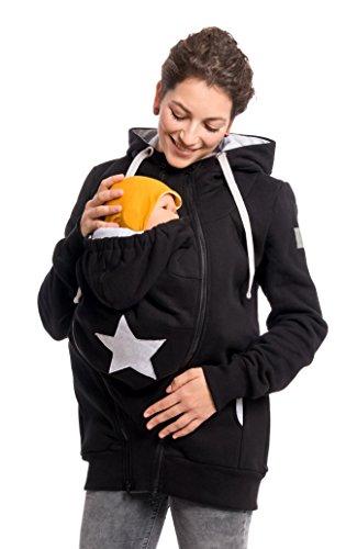 Viva la Mama 3in1 Tragejacke, Umstandsjacke für Mama + Baby aus Baumwoll-Sweatstoff - Cassio